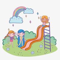 glücklicher Kindertag, niedliche Mädchen, die im Rutschspielplatzpark spielen vektor