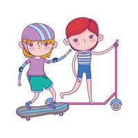Glücklicher Kindertag, kleine Jungen, die mit Skateboard- und Rollerparklandschaft spielen vektor