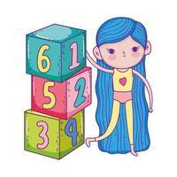 glücklicher Kindertag, niedliche Mädchen, die mit Zahlenblöcken im Park spielen vektor