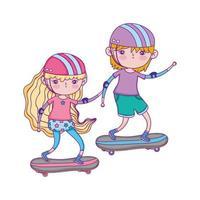 Glücklicher Kindertag, Junge und Mädchen reiten Skateboard im Park vektor
