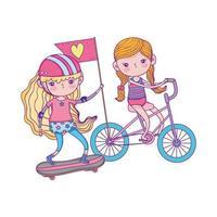 Alles Gute zum Kindertag, süße Mädchen, die Fahrrad und Skateboard im Park fahren vektor