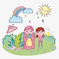 Glücklicher Kindertag, Mädchen singen mit Mikrofon und Trompete im Freien vektor