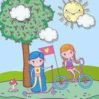 Alles Gute zum Kindertag, süße Mädchen, die Fahrrad und Roller im Park fahren vektor