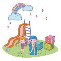 Glücklicher Kindertag, freundliche Mädchen mit Rutschblockpark vektor