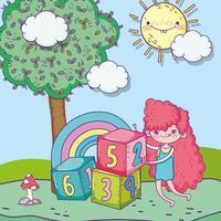 glücklicher Kindertag, süßes Mädchen mit Zahlen blockiert Park vektor