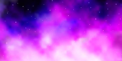 hellvioletter Vektorhintergrund mit bunten Sternen.