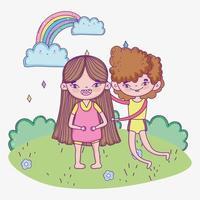 Glücklicher Kindertag, lächelnder Junge und Mädchen im Park vektor