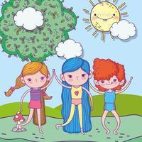 Glücklicher Kindertag, kleine Mädchen und Junge zusammen in der Parklandschaft vektor
