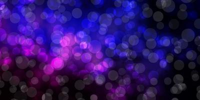 mörkrosa, blå vektorlayout med cirkelformer.