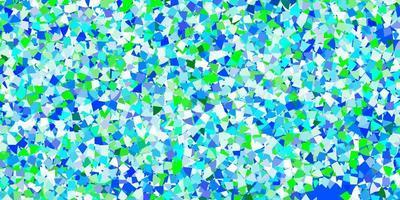 hellblaue Vektorschablone mit Kristallen, Dreiecken. vektor