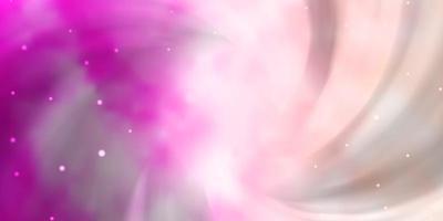 ljusrosa vektorlayout med ljusa stjärnor. vektor