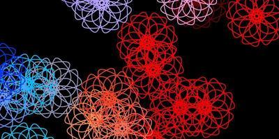 dunkelblauer, roter Vektorhintergrund mit zufälligen Formen.