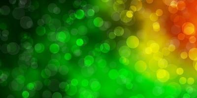 mörkgrön, röd vektorbakgrund med cirklar. vektor