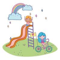 glücklicher Kindertag, Mädchen, das in Rutsche spielt und Mädchen, das Fahrrad im Park reitet vektor