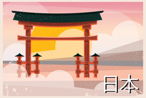 Das große Torii von Itsukushima Shinto-Schrein Japan-Postkarte vektor