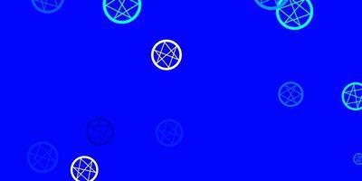 hellblauer Vektorhintergrund mit okkulten Symbolen.