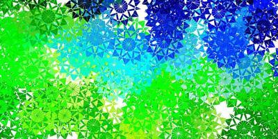 hellblaue, grüne Vektorbeschaffenheit mit hellen Schneeflocken. vektor
