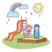 Glücklicher Kindertag, Mädchen, die zusammen im Sandkasten und im Rutschpark lächeln vektor