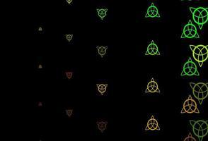 dunkler mehrfarbiger Vektorhintergrund mit Mysteriumsymbolen.