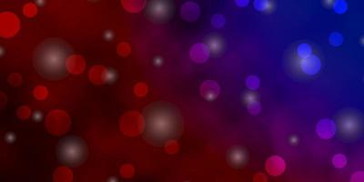 ljusblått, rött vektormönster med cirklar, stjärnor. vektor