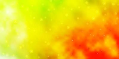 ljusgrön, gul vektormall med neonstjärnor.