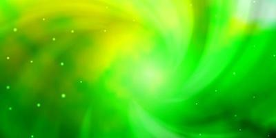 hellgrüne, gelbe Vektorschablone mit Neonsternen.