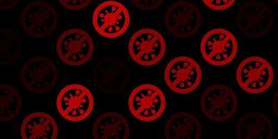 dunkelrote Vektorbeschaffenheit mit Krankheitssymbolen.