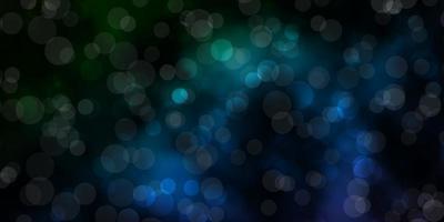 dunkelblaue, grüne Vektortextur mit Kreisen. vektor