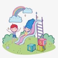 Glücklicher Kindertag, Mädchen spielen in Rutsche und Junge mit Blockpark vektor