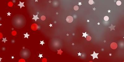 ljusröd vektorbakgrund med cirklar, stjärnor.