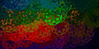 dunkelgrünes, rotes Vektormuster mit polygonalen Formen.