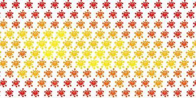 ljus orange vektor bakgrund med covid-19 symboler