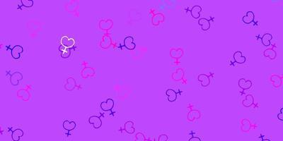 ljusrosa, blå vektorbakgrund med kvinnasymboler.