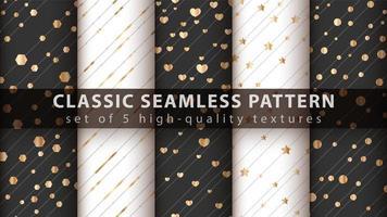 klassisches süßes nahtloses Muster-Set in Schwarz, Weiß und Gold vektor