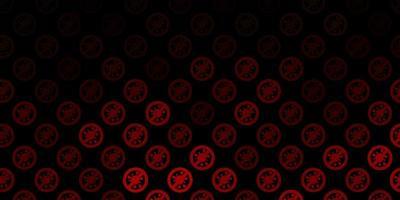 dunkelbrauner Vektorhintergrund mit Virensymbolen.