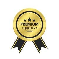 premiumkvalitet gyllene emblemvektordesignillustration isolerad på vit bakgrund