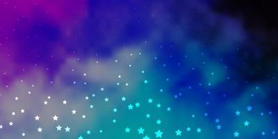 dunkelrosa, blauer Vektorhintergrund mit kleinen und großen Sternen.