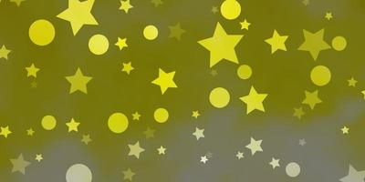 hellgelber Vektorhintergrund mit Kreisen, Sternen.