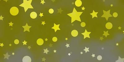 ljusgul vektor bakgrund med cirklar, stjärnor.