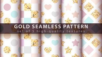 Gold Prinzessin Glitter nahtloses Musterset