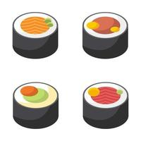 asiatische Sushi-Vektorentwurfsillustration lokalisiert auf weißem Hintergrund