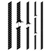 gebrochene Seilvektorentwurfsillustration lokalisiert auf weißem Hintergrund vektor