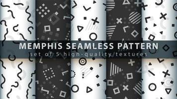 nahtloser Musterhintergrundsatz des Memphis-Stils vektor