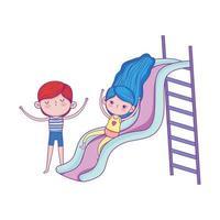 glücklicher Kindertag, Mädchen, das auf Folie spielt und Junge, der Karikatur feiert vektor