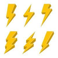 thunderbolt vektor design illustration isolerad på vit bakgrund