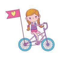 Glücklicher Kindertag, kleines Fahrrad mit Flagge Liebeskarikatur vektor
