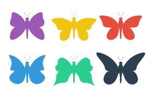 Schmetterlingssatzvektorentwurfsillustration lokalisiert auf weißem Hintergrund