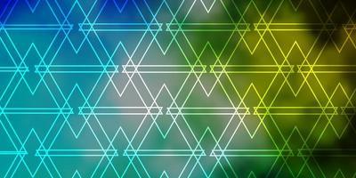 hellblauer, grüner Vektorhintergrund mit Linien, Dreiecken.