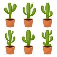Kaktus-Set-Vektor-Design-Illustration lokalisiert auf weißem Hintergrund vektor