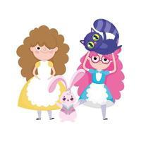 Mädchen und Kaninchengrasbaumwaldnatur vektor